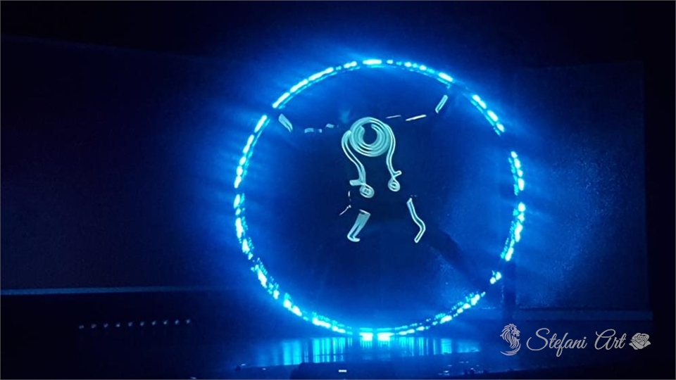 Led cyr wheel with costume